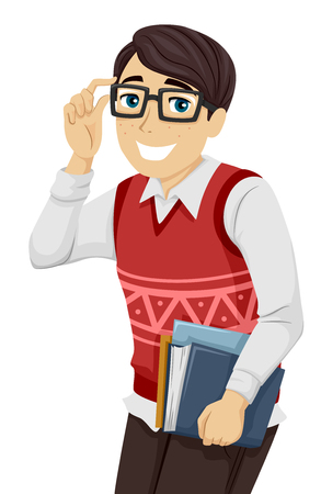 geeky: Illustration of a Geeky Teenage Boy Lifting His Glasses Stock Photo