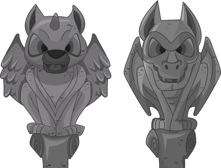 statue: Illustration of Gargoyle Statues Standing Vertically
