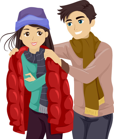 lending: Illustration of a Teenage Boy Lending His Jacket to His Girlfriend