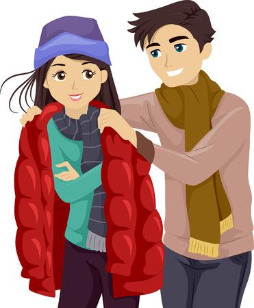 jacket: Ilustración de un adolescente prestando su chaqueta a su novia