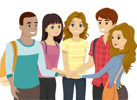 manos juntas: Ilustración de un grupo de adolescentes que pone sus manos juntas Foto de archivo