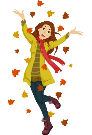 Illustration of a Happy Teenage Girl Playing with Autumn Leaves Stock Photo