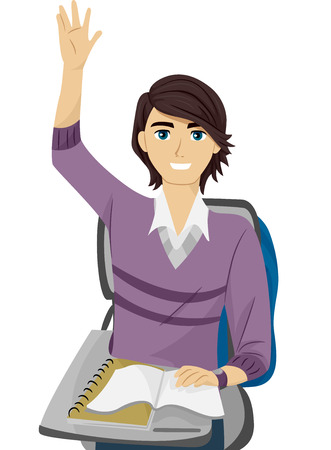 Illustration of a Teenage Guy Raising His Hand to Answer a Question