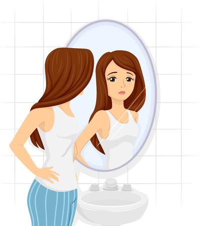 skinny: Ilustración de una chica adolescente Controla Su figura en el espejo
