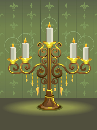 brightly: Illustration of a Golden Candelabra with Candles Shining Brightly