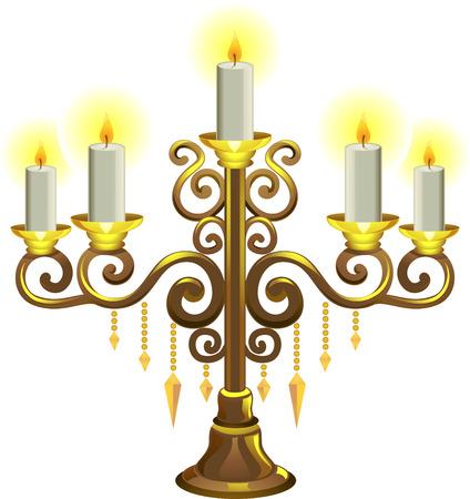 Illustratie van een Gouden Kandelaar met kaarsen verlicht Stockfoto