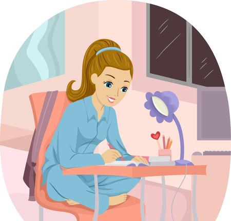 mujer leyendo libro: Ilustración de una muchacha Escribir notas Mientras Estudiar Foto de archivo
