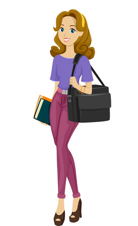 teenage girl: Illustration of a Busy Teenage Girl with a Multimedia Bag Strapped on Her Shoulder