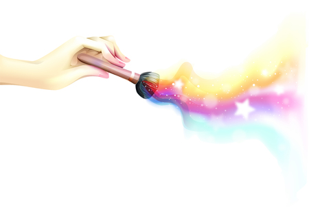 glitter makeup: Colorful and Whimsical Illustration of a Hand Using a Makeup Brush - eps10 Stock Photo