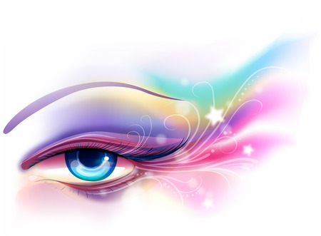 eye shade: Colorful and Whimsical Illustration of Eye Makeup Stock Photo