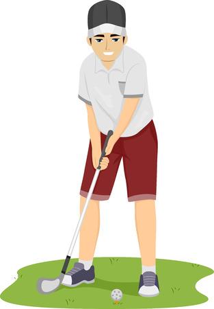 teen golf: Ilustración de un adolescente chico Preparación para golpear la pelota de golf