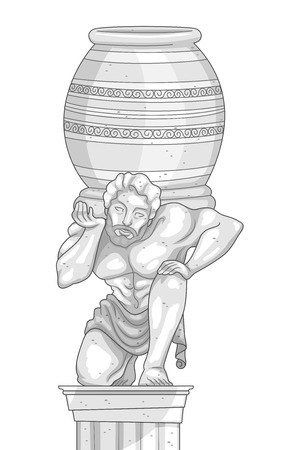fine arts: Illustration of a Marble Statue of a Man Carrying a Jar on His Shoulders Stock Photo