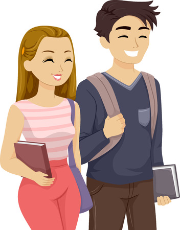 college student: Illustration of a Teenage Couple Walking Together Stock Photo