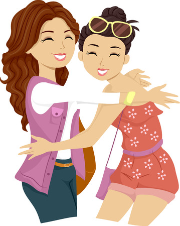 teenage girl: Illustration of a Female Teenager Giving Her Friend a Big Hug