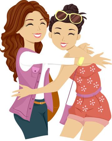 friend hug: Illustration of a Female Teenager Giving Her Friend a Big Hug