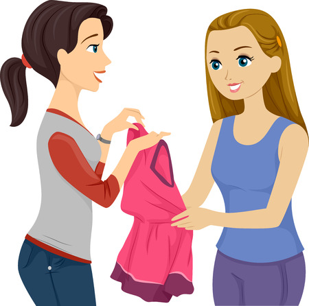 cartoon clothes: Illustration of a Female Teen Lending a Dress to Her Friend Stock Photo