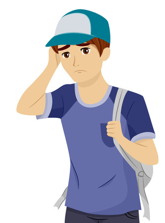 teenage: Illustration of a Teenage Boy Worried Over His Prospects