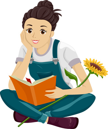 art book: Illustration of a Teenage Girl Reading a Gardening Book