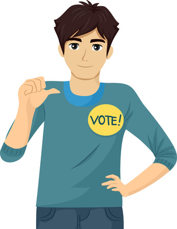school boys: Illustration of a Teenage Student Council Candidate Promoting Himself