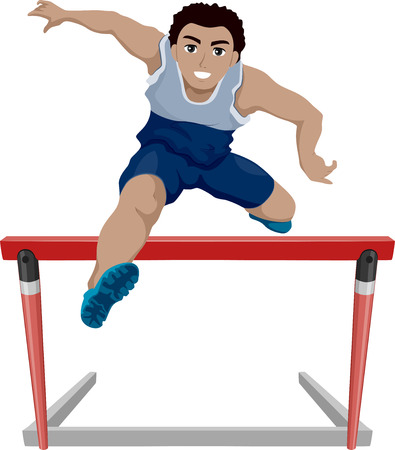 hurdle: Illustration of a Teenage Athlete Jumping Over a Hurdle