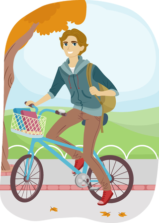 college student: Illustration of a Teenage College Student Going to School on His Bike Stock Photo