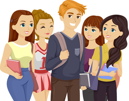 popular: Illustration of a Popular Teenage Guy Surrounded by Girls