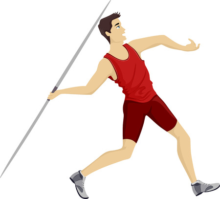 lanzamiento de jabalina: Ilustración de un adolescente Javelin jugador que lanza una jabalina