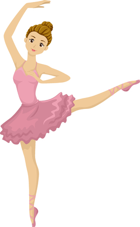 Illustration of a Teenage Ballerina Striking a Pose
