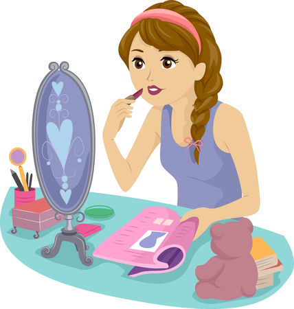 teenage girl: Illustration of a Teenage Girl Using a Magazine to Learn How to Apply Lipstick