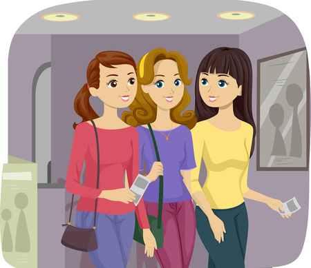 to go: Illustration of Female Teenage Friends Going on a Movie Together