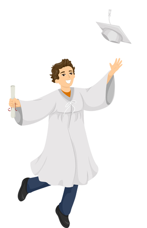 high school: Illustration of a High School Graduate Flinging His Graduation Cap
