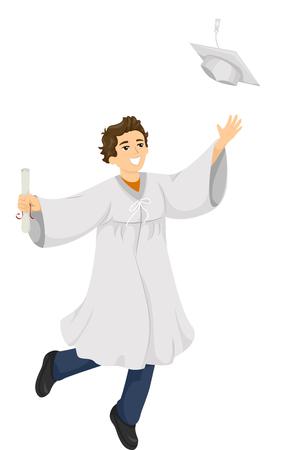 Illustration of a High School Graduate Flinging His Graduation Cap