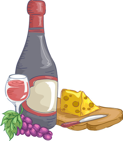 fine dining: Illustration of a Bottle of Wine with a Chunk of Cheese Beside It