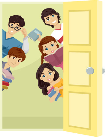 teenage: Illustration of a Group of Teenage Students Carrying Study Materials Peeking from Behind a Door