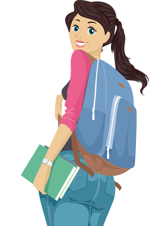 college student: Illustration of a Teenage Girl Wearing a Backpack Looking Back Stock Photo