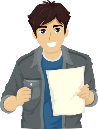 college student: Illustration of a Teenage Guy Smiling Happily After Reading a Piece of Paper Stock Photo