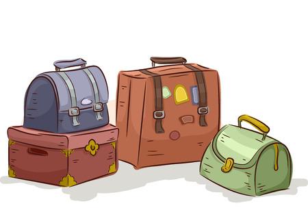 valigia: Illustrazione di un pacchetto di borse da viaggio d'epoca Archivio Fotografico