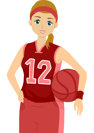 youth sports: Illustration of a Female Basketball Player Striking a Pose