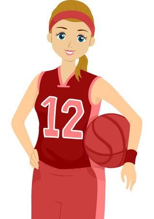 baloncesto chica: Ilustración de un jugador de baloncesto femenino pulso una actitud
