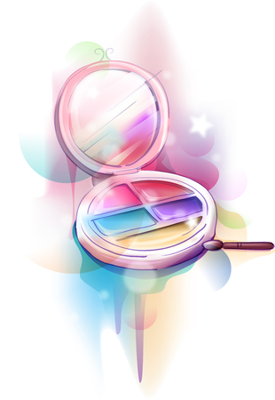 blush: Colorful and Whimsical Illustration of a Basic Make Up Palette - eps10