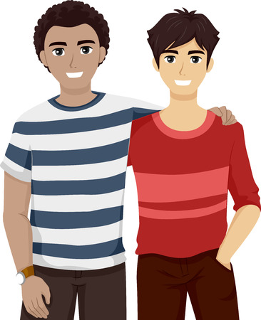 male friends: Illustration of Male Teenage Best Friends Hanging Out Together