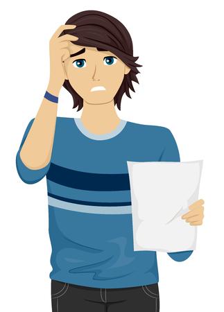 decepcionado: Ilustración de un adolescente masculino decepcionado por sus resultados de la prueba