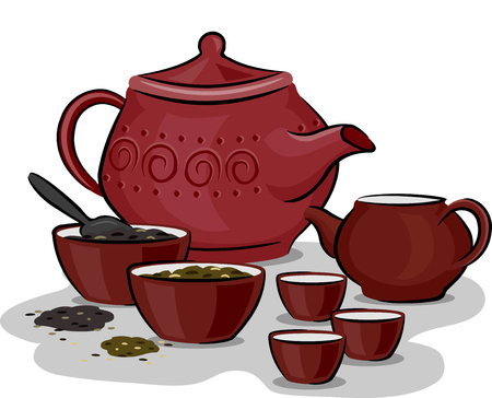 traditional illustration: Illustration Featuring Traditional Chinese Tea Preparation