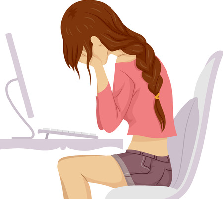 sad: Illustration of a Teenage Girl Crying in Front of Her Computer Stock Photo