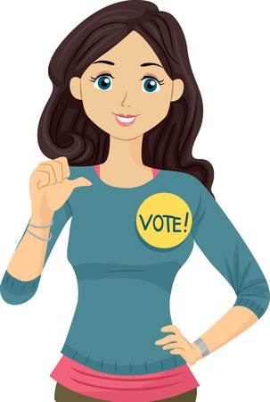 an illustration promoting: Illustration of a Teenage Student Council Candidate Promoting Herself