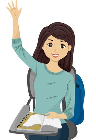 Illustratie van een tienermeisje dat haar hand opheft om een vraag beantwoorden Stockfoto