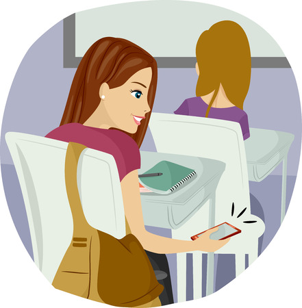 Illustration of a Teenage Girl Using Her Mobile Phone in Class Stock Photo