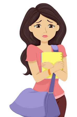 彼女の大学の展望を憂慮していた 10 代の少女のイラスト