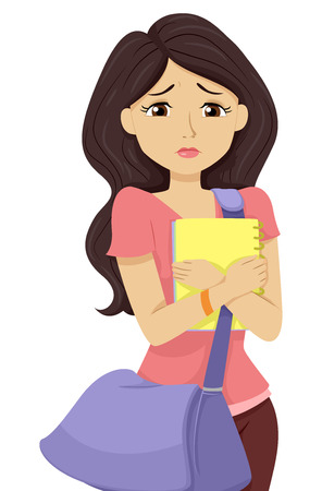 young teen: Illustration of a Teenage Girl Worried Over Her College Prospects