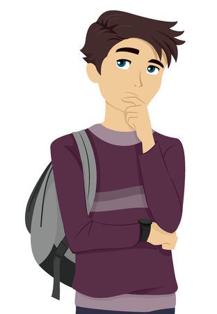 pensando: Ilustração de uma estudante adolescente masculino pensando consigo mesmo